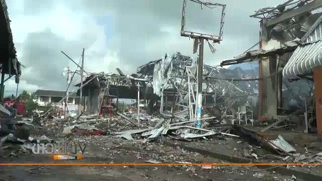 เพลิงไหม้ตึก 11 คูหาตลาดสดเชียงยืน จ.มหาสารคาม วอดกว่า 45 ล้านบาท