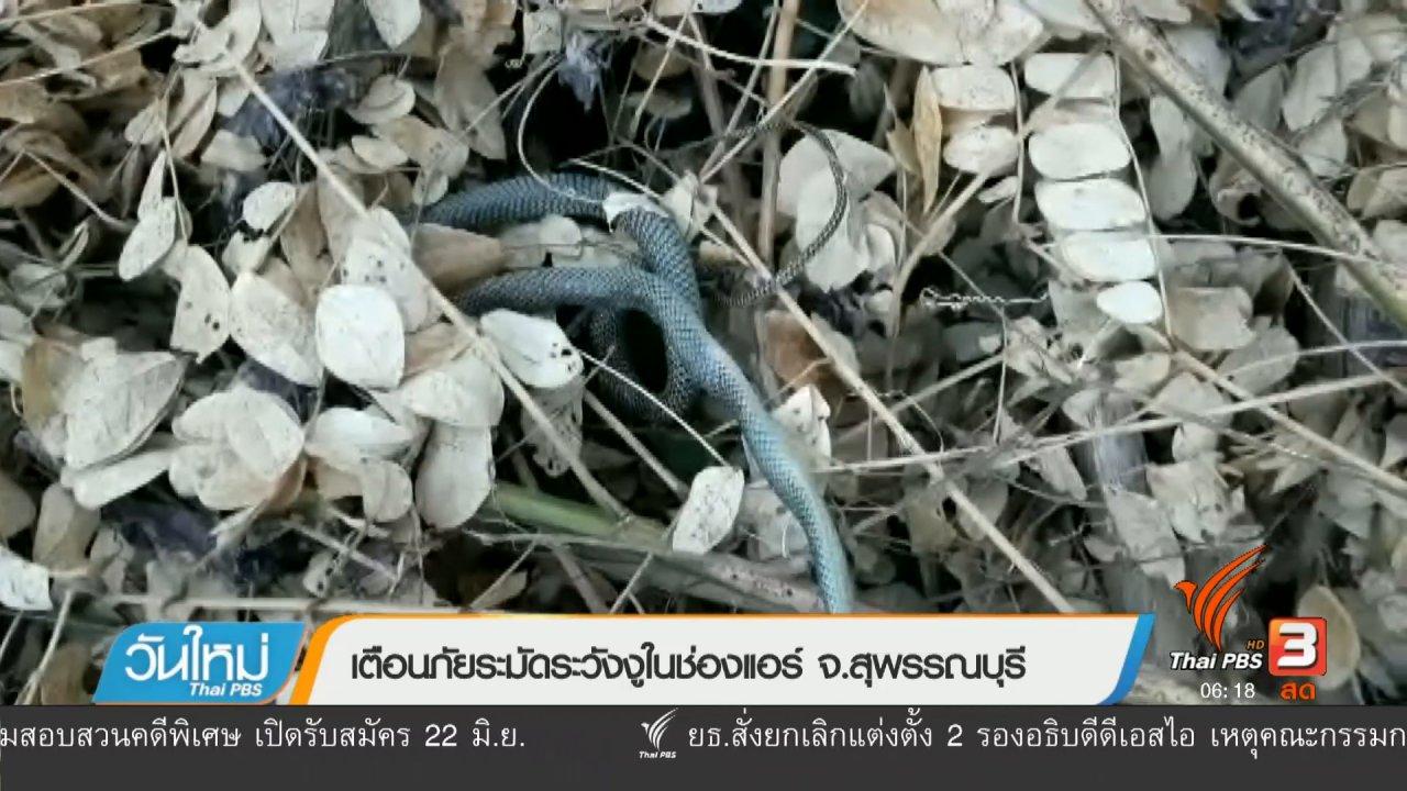 วันใหม่  ไทยพีบีเอส - เตือนภัยระมัดระวังงูในช่องแอร์ จ.สุพรรณบุรี